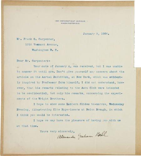34210: Alexander Graham Bell Typed Letter Signed. One p