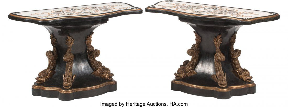 A Pair of French Régence-Style Ebonized and Par
