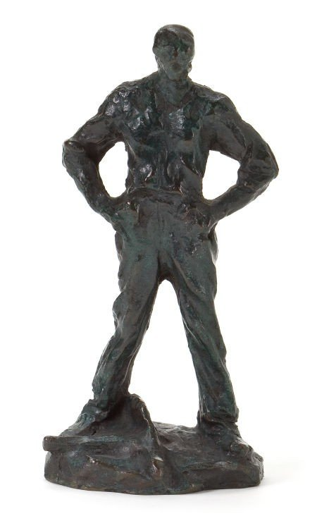 66010: A FRENCH PATINATED BRONZE FIGURE AFTER AIMÉ JULE