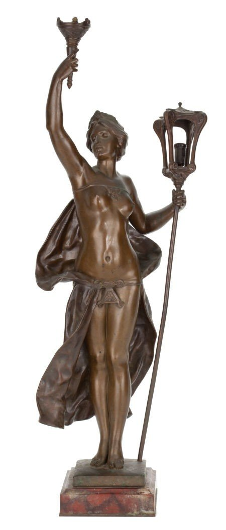66012: A FRENCH PATINATED BRONZE FIGURAL LAMP AFTER GUS