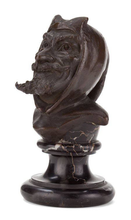 66014: A CONTINENTAL PATINATED BRONZE BUST OF THE DEVIL