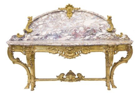 66040: A FRENCH GILT WOOD AND MARBLE PIER TABLE WITH GI