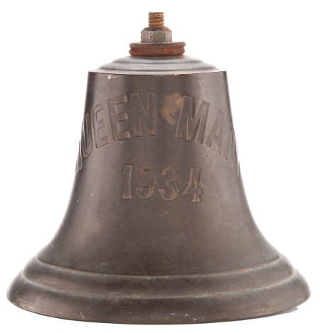 66413: R.M.S. QUEEN MARY BRIDGE BELL DATED 1934  Height