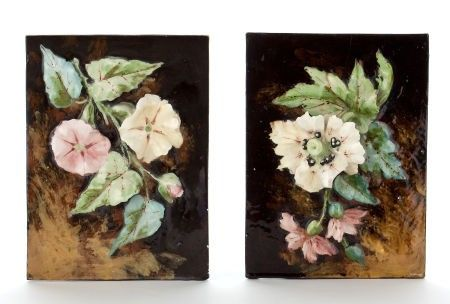 66079: A PAIR OF FRENCH BARBOTINE WARE FLOWER VASES  Un