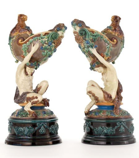 66084: A PAIR OF VICTORIAN FIGURAL MAJOLICA CENTERPIECE