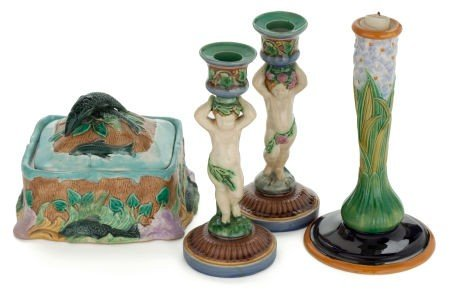 66086: THREE VICTORIAN MAJOLICA CANDLESTICKS AND A SARD