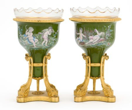66099: A PAIR OF CONTINENTAL ENAMELED GILT BRONZE URNS