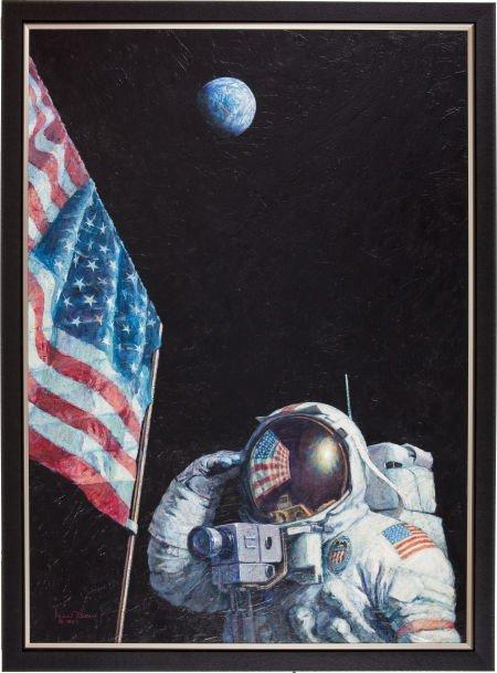 "41144: Alan Bean Original 36"" x 46"" Painting of Apollo"