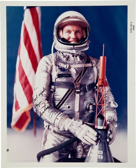 41020: Gordon Cooper Signed Color NASA Glossy Spacesuit