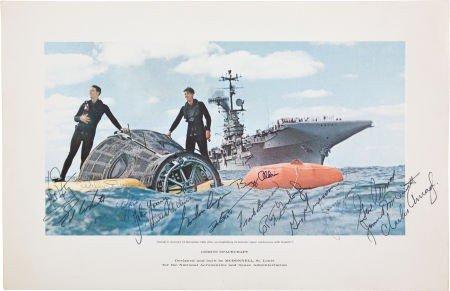"""41024: """"Gemini Spacecraft"""" Rare McDonnell Lithograph Si"""