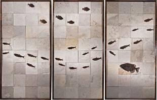 49063: FOSSIL FISH MOSAIC TRIO