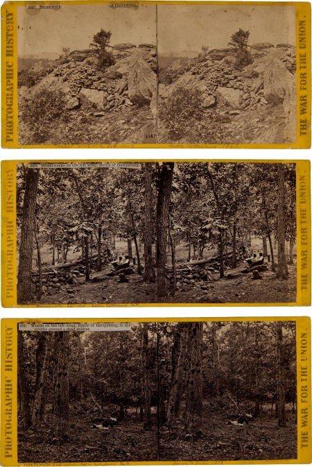 Group of Three Civil War Stereo Views of Gettysburg by