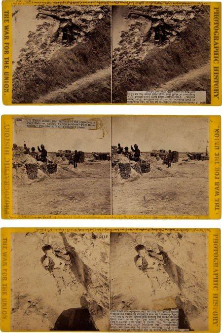 Group of Three Civil War Stereo Views by Matthew Brady: