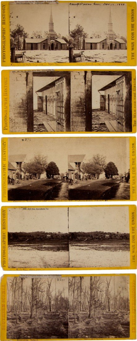 52016: Group of Five Civil War Stereo Views, Four by Ma