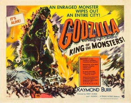 "83013: Godzilla (Trans World, 1956). Half Sheet (22"" X"