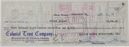 46002: Marilyn Monroe Signed Check to Arthur Miller.