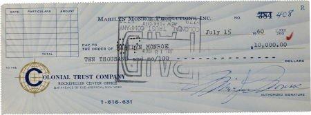46003: Marilyn Monroe Signed Check.