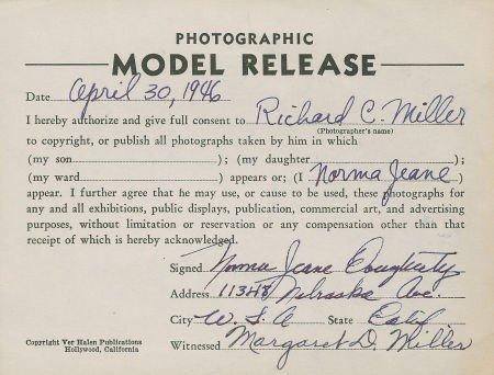 46006: Marilyn Monroe Signed Norma Jeane Dougherty Mode