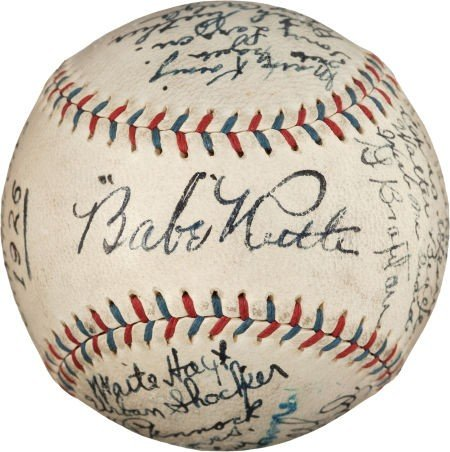 80001: 1926 New York Yankees Team Signed Baseball from