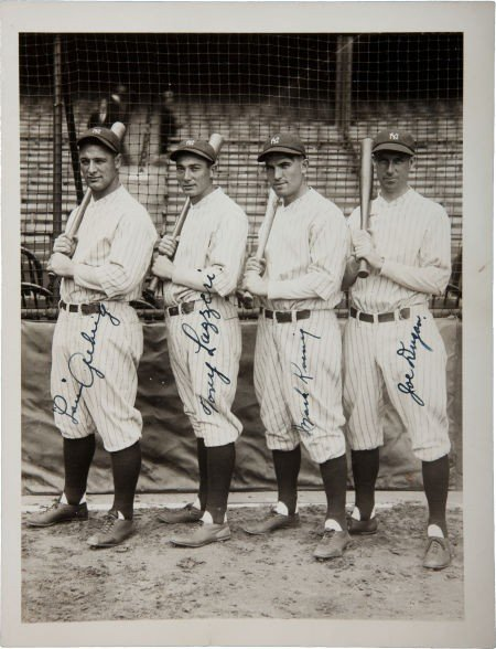 80002: 1927 New York Yankees Infield Signed Photograph