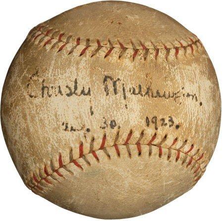 80011: 1923 Christy Mathewson Single Signed Baseball.