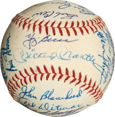 80016: 1961 New York Yankees Team Signed Baseball, PSA