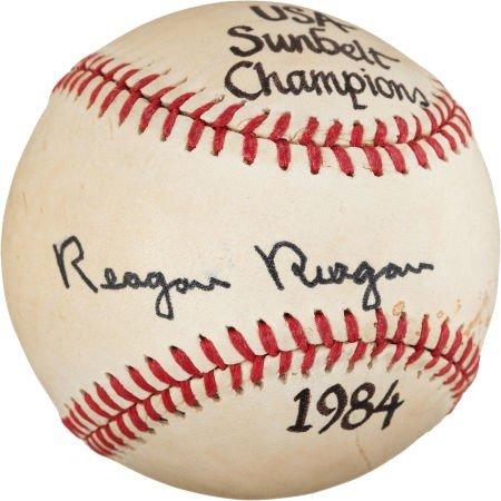 "80017: 1984 Ronald ""Reagan Reagan"" Single Signed Baseba"