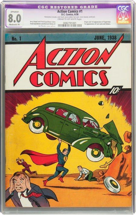 91227: Action Comics #1 (DC, 1938) CGC Apparent VF 8.0