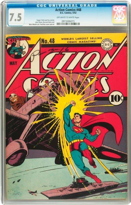 91236: Action Comics #48 (DC, 1942) CGC VF- 7.5 Off-whi