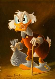 Carl Barks Uncle Scrooge with Money Bag Painting