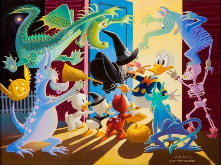 92003: Carl Barks Halloween in Duckburg Oil Painting Or