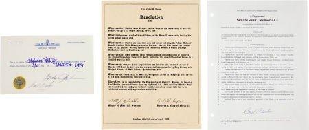 92010: Carl Barks Signed City of Merrill Oregon Documen