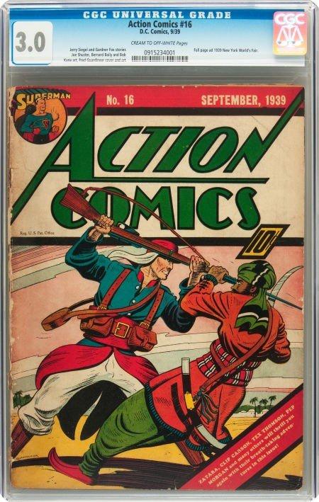 93191: Action Comics #16 (DC, 1939) CGC GD/VG 3.0 Cream