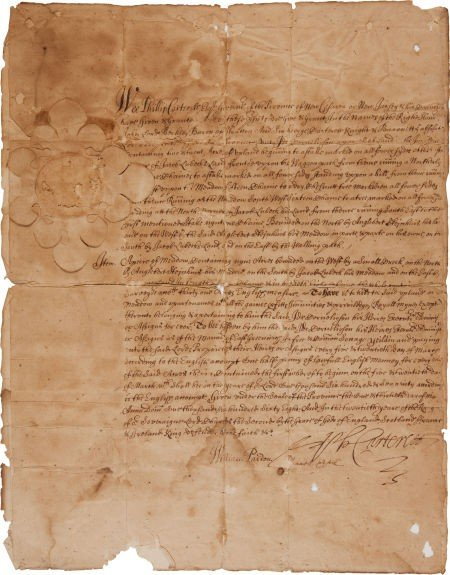35001: Philip Carteret Land Grant Signed and William Bu