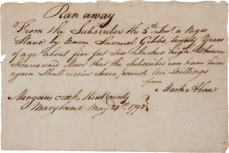 35017: Slavery: Manuscript Handbill for a Runaway Slave