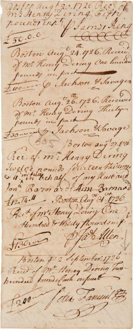 35002: [Peter Faneuil] 1726 Payment Voucher Featuring t