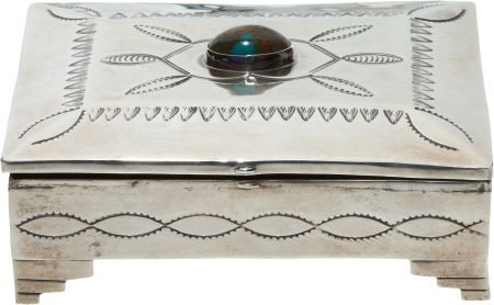 A NAVAJO SILVER AND TURQUOISE BOX c. 1975