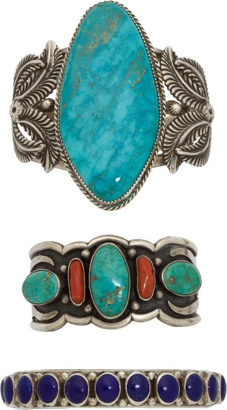 THREE NAVAJO SILVER AND STONE BRACELETS c. 1970 - 2000