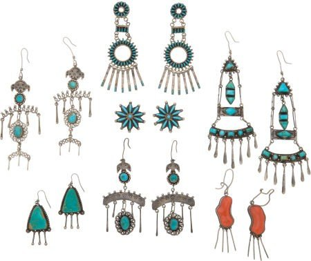 SEVEN PAIRS OF SOUTHWEST SILVER AND STONE EARRINGS c. 1