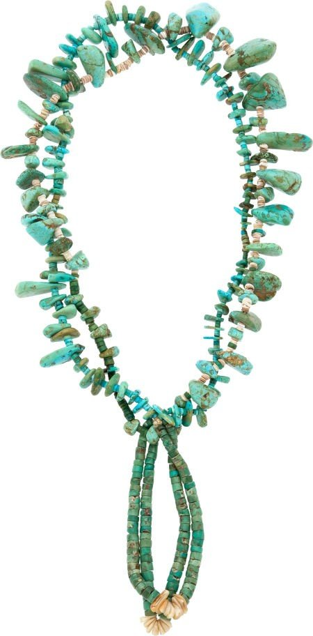 A PUEBLO TURQUOISE AND SHELL NECKLACE c. 1920