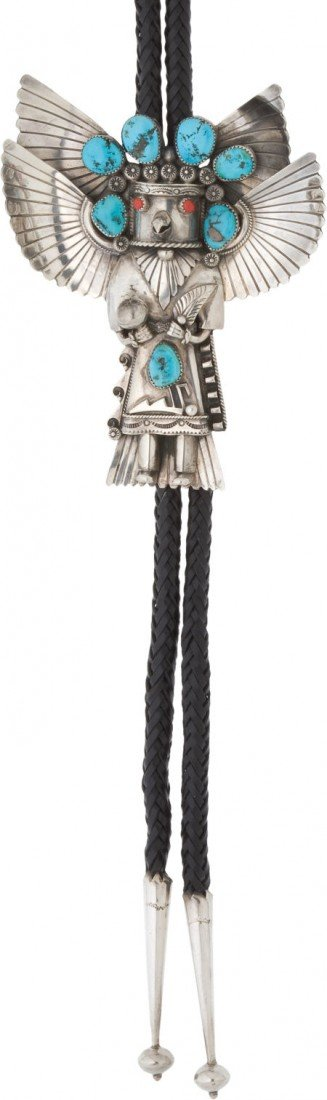 A SOUTHWEST SILVER AND STONE BOLO TIE c. 1980