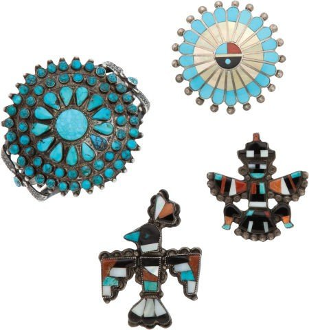 FOUR ZUNI SILVER AND TURQUOISE JEWELRY ITEMS c. 1940 -