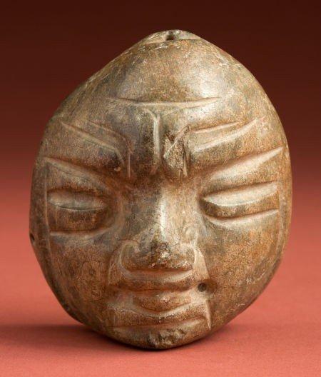 50329: Olmecoid Facial Pendant of a Baby