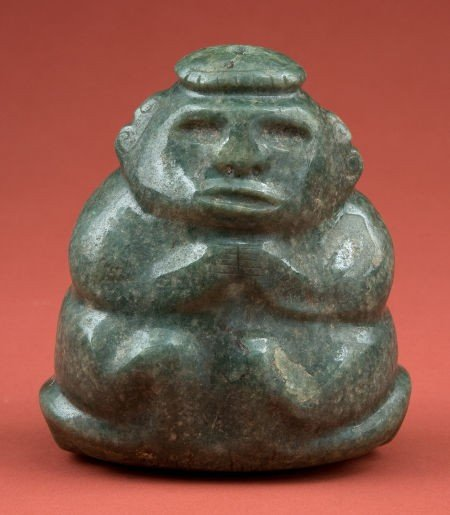 50339: Important Pre-Classic Maya Jade Man on Throne
