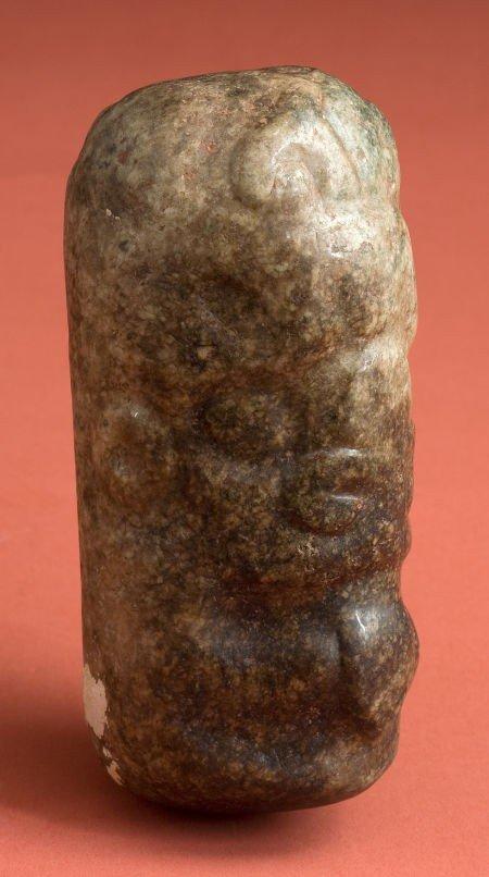 50341: Early Maya Jadeite Ceremonial Pestle with Deitie