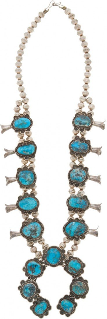 50747: A NAVAJO SILVER AND TURQUOISE SQUASH BLOSSOM NEC