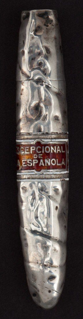 68001: A TIFFANY SILVER AND ENAMEL FIGURAL MATCH SAFE