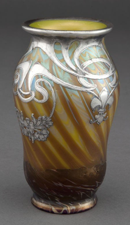 68191: A LOETZ IRIDESCENT VASE WITH SILVER OVERLAY  Gla