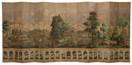 86350: ZUBER & CIE TWELVE PANEL SCREEN IN TWO SECTIONS