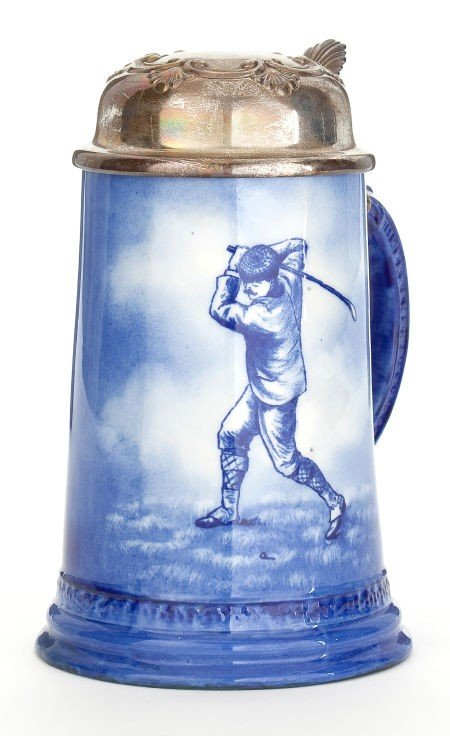 86711: GOLF THEMED EARTHENWARE STEIN WITH METAL LID  Ma